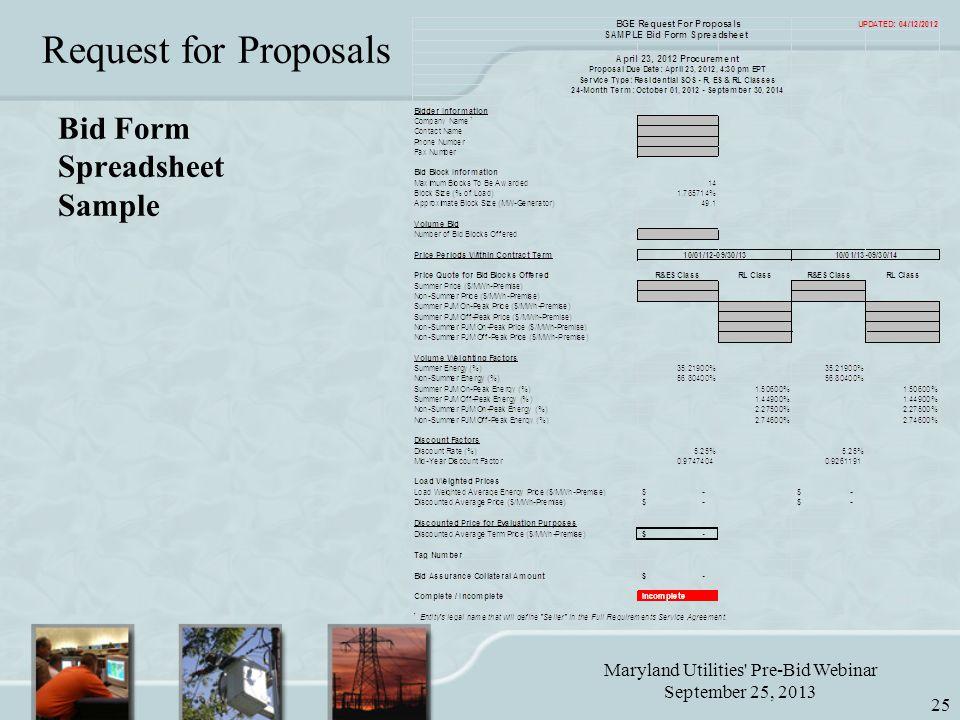 Maryland Utilities Pre-Bid Webinar September 25, 2013 25 Bid Form Spreadsheet Sample Request for Proposals