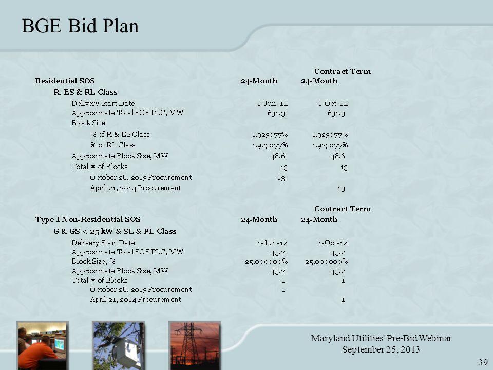 Maryland Utilities Pre-Bid Webinar September 25, 2013 39 BGE Bid Plan