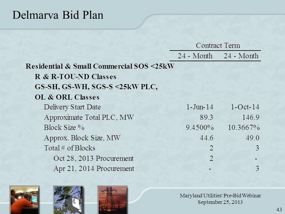 Maryland Utilities Pre-Bid Webinar September 25, 2013 43 Delmarva Bid Plan