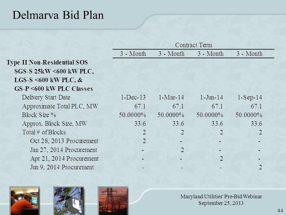 Maryland Utilities Pre-Bid Webinar September 25, 2013 44 Delmarva Bid Plan