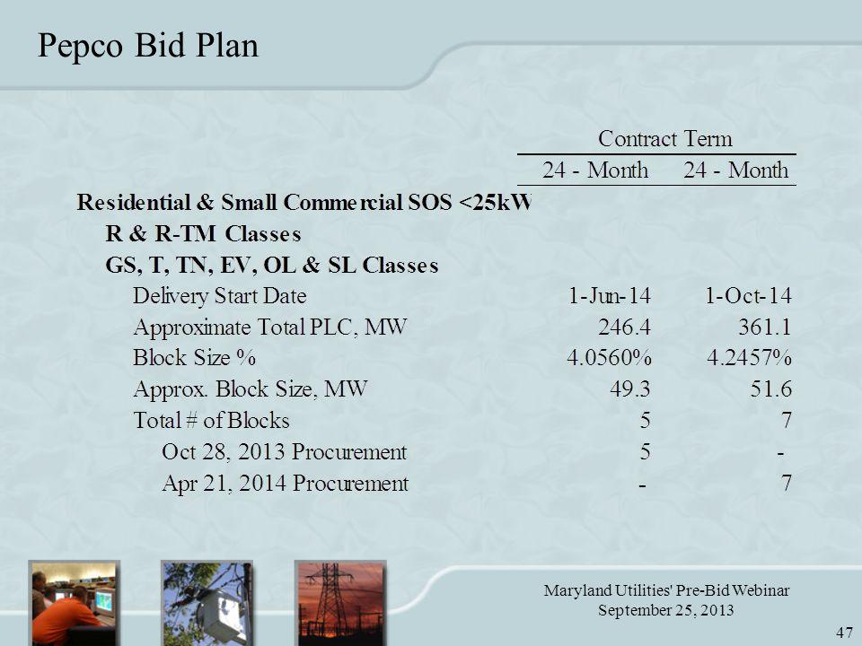 Maryland Utilities Pre-Bid Webinar September 25, 2013 47 Pepco Bid Plan