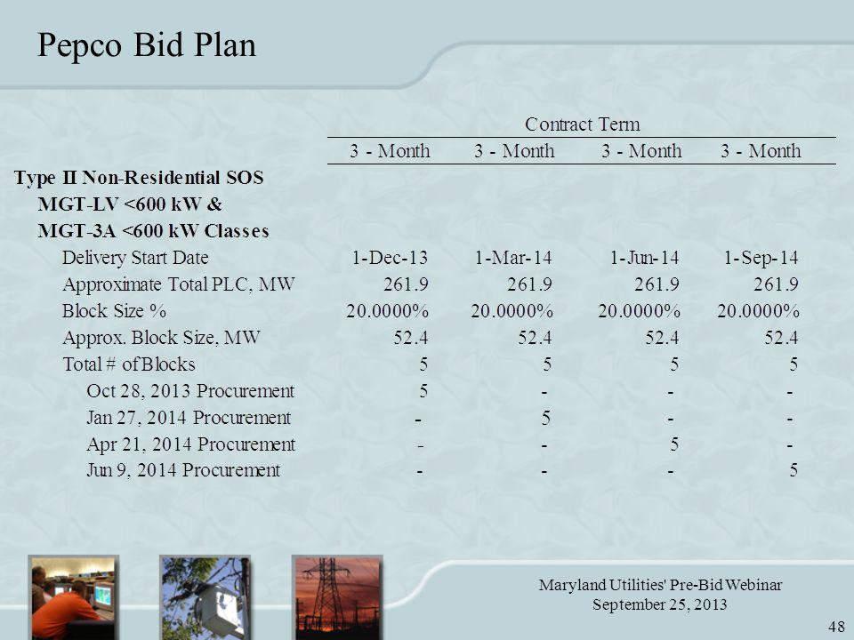 Maryland Utilities Pre-Bid Webinar September 25, 2013 48 Pepco Bid Plan
