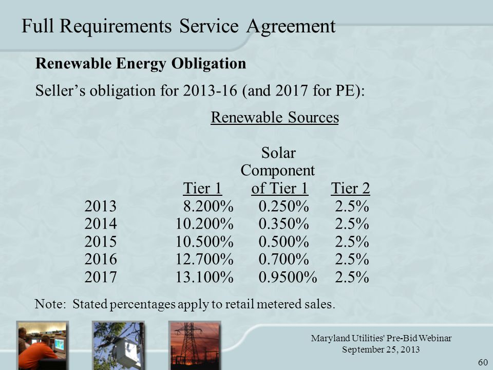 Maryland Utilities Pre-Bid Webinar September 25, 2013 60 Full Requirements Service Agreement Renewable Energy Obligation Seller's obligation for 2013-16 (and 2017 for PE): Renewable Sources Solar Component Tier 1 of Tier 1Tier 2 20138.200% 0.250% 2.5% 2014 10.200% 0.350% 2.5% 2015 10.500% 0.500% 2.5% 2016 12.700% 0.700% 2.5% 2017 13.100% 0.9500% 2.5% Note: Stated percentages apply to retail metered sales.