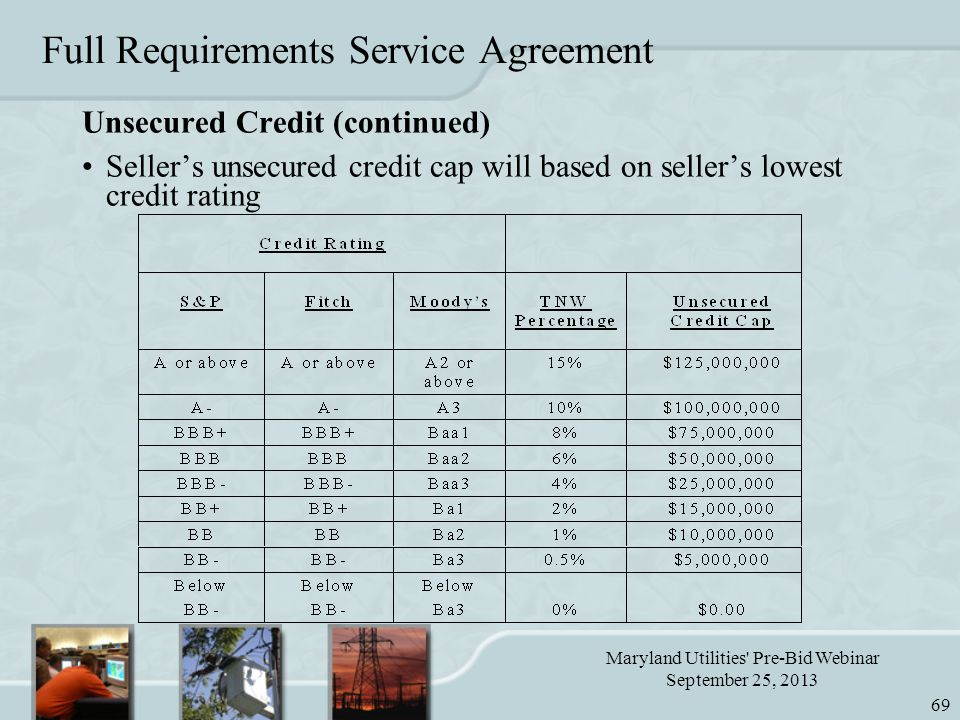 Maryland Utilities Pre-Bid Webinar September 25, 2013 69 Full Requirements Service Agreement Unsecured Credit (continued) Seller's unsecured credit cap will based on seller's lowest credit rating