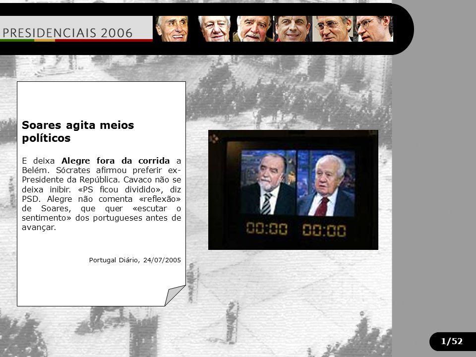 "1/52 Resultados: Cavaco Silva 50,6% Manuel Alegre 20,7% Mário Soares 14,3% José Sócrates proíbe represálias sobre Manuel Alegre ""...o apoio a Alegre,"