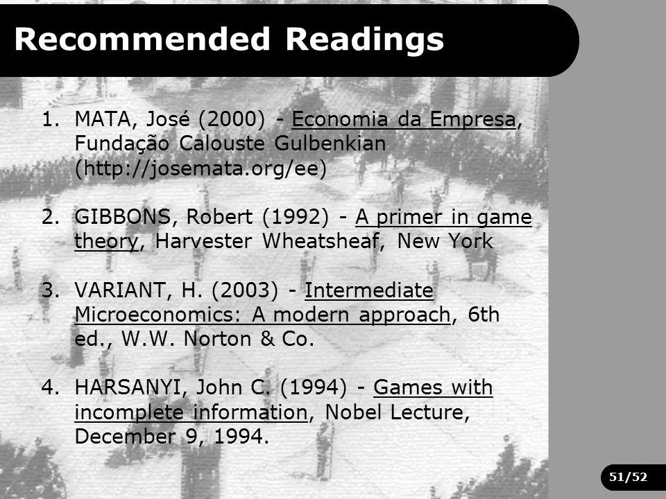 51/52 Recommended Readings 1.MATA, José (2000) - Economia da Empresa, Fundação Calouste Gulbenkian (http://josemata.org/ee) 2.GIBBONS, Robert (1992) -