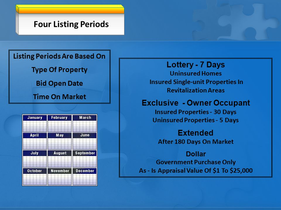 Four Listing Periods Lottery - 7 Days Uninsured Homes Insured Single-unit Properties In Revitalization Areas Exclusive - Owner Occupant Insured Properties - 30 Days Uninsured Properties - 5 Days Extended After 180 Days On Market Dollar Government Purchase Only As - Is Appraisal Value Of $1 To $25,000 Listing Periods Are Based On Type Of Property Bid Open Date Time On Market