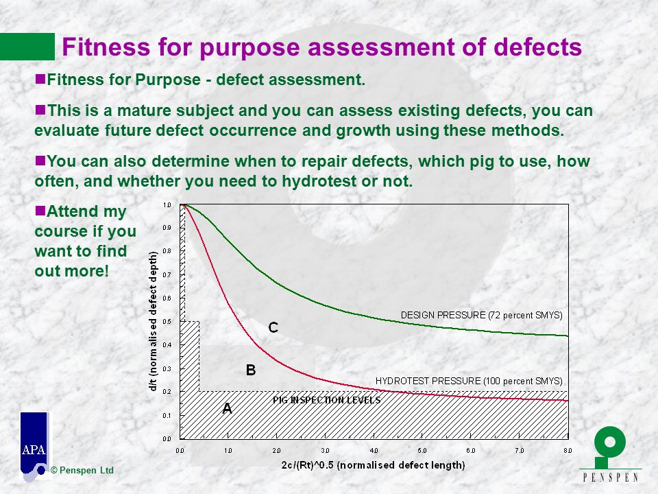 © Penspen Ltd Fitness for purpose assessment of defects nFitness for Purpose - defect assessment. nThis is a mature subject and you can assess existin