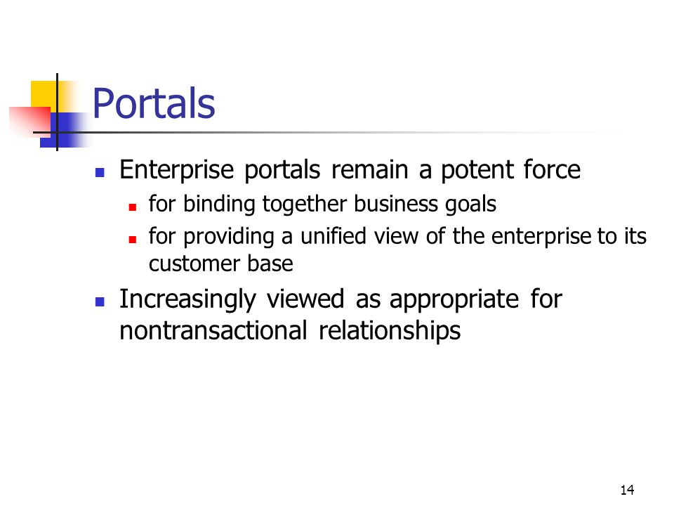 14 Portals Enterprise portals remain a potent force for binding together business goals for providing a unified view of the enterprise to its customer base Increasingly viewed as appropriate for nontransactional relationships