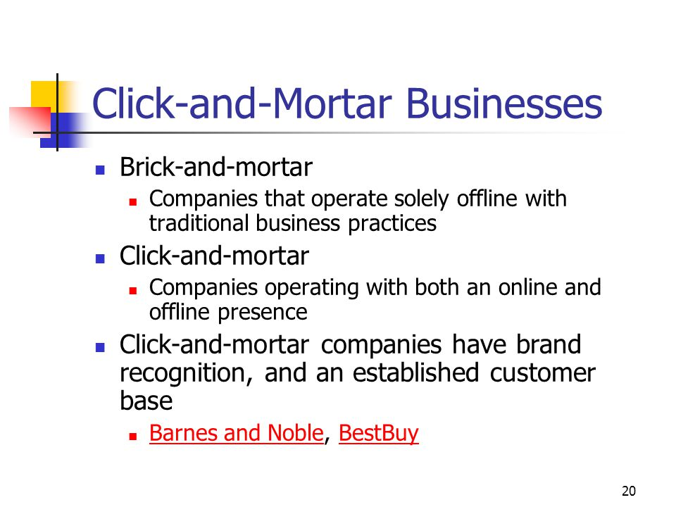 20 Click-and-Mortar Businesses Brick-and-mortar Companies that operate solely offline with traditional business practices Click-and-mortar Companies operating with both an online and offline presence Click-and-mortar companies have brand recognition, and an established customer base Barnes and Noble, BestBuy Barnes and NobleBestBuy