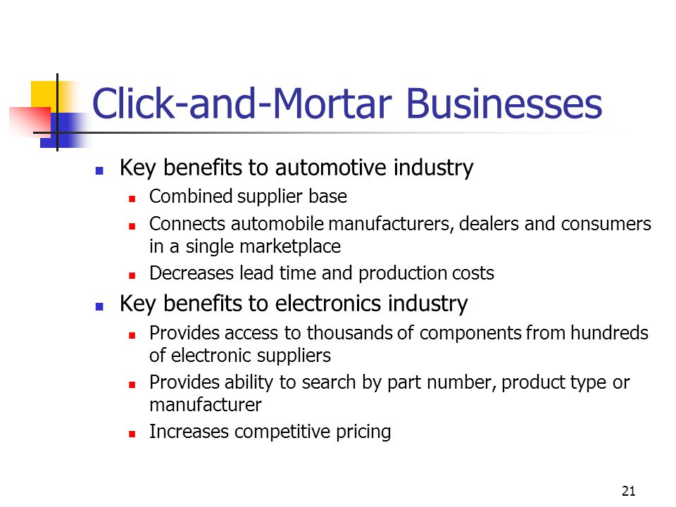 21 Click-and-Mortar Businesses Key benefits to automotive industry Combined supplier base Connects automobile manufacturers, dealers and consumers in a single marketplace Decreases lead time and production costs Key benefits to electronics industry Provides access to thousands of components from hundreds of electronic suppliers Provides ability to search by part number, product type or manufacturer Increases competitive pricing