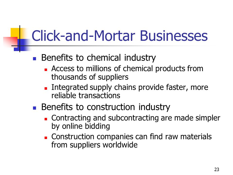 23 Click-and-Mortar Businesses Benefits to chemical industry Access to millions of chemical products from thousands of suppliers Integrated supply chains provide faster, more reliable transactions Benefits to construction industry Contracting and subcontracting are made simpler by online bidding Construction companies can find raw materials from suppliers worldwide