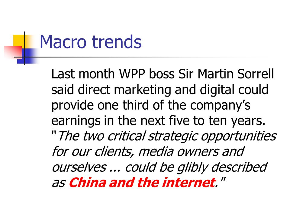 Macro trends: Online growth