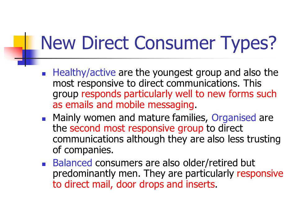 New Direct Consumer Types.