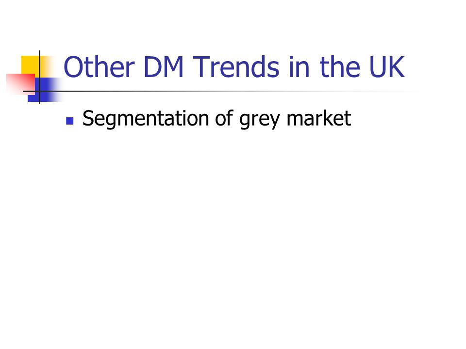 Other DM Trends in the UK Segmentation of grey market