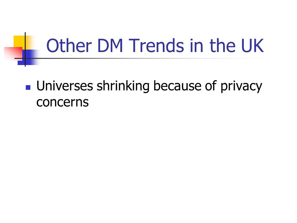 Other DM Trends in the UK Universes shrinking because of privacy concerns