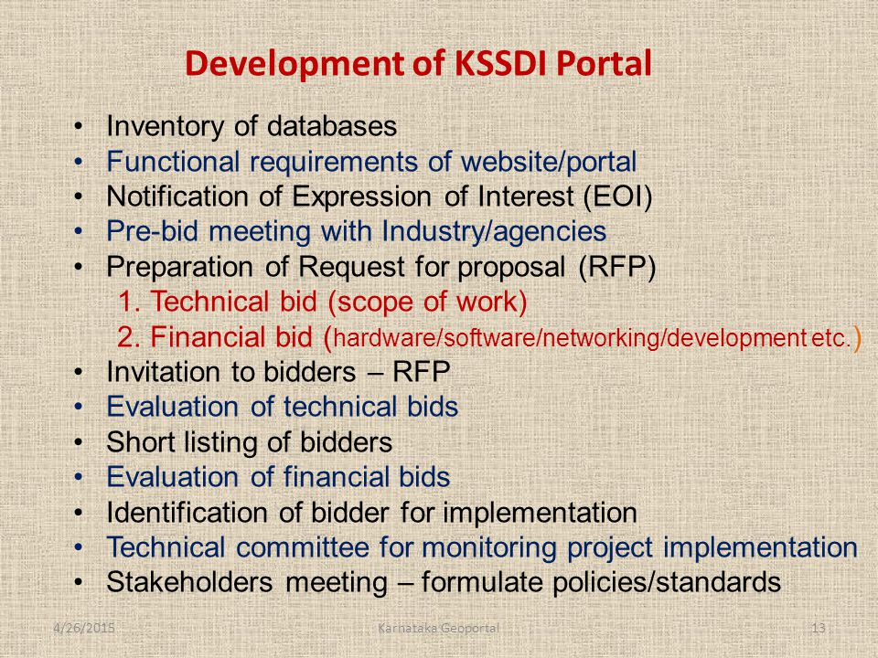 Inventory of databases Functional requirements of website/portal Notification of Expression of Interest (EOI) Pre-bid meeting with Industry/agencies Preparation of Request for proposal (RFP) 1.Technical bid (scope of work) 2.Financial bid ( hardware/software/networking/development etc.