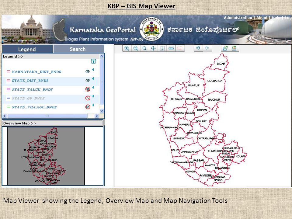 KBP – GIS Map Viewer Map Viewer showing the Legend, Overview Map and Map Navigation Tools