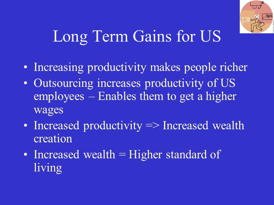 Long Term Gains for US Increasing productivity makes people richer Outsourcing increases productivity of US employees – Enables them to get a higher wages Increased productivity => Increased wealth creation Increased wealth = Higher standard of living