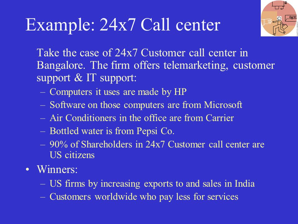 Example: 24x7 Call center Take the case of 24x7 Customer call center in Bangalore.