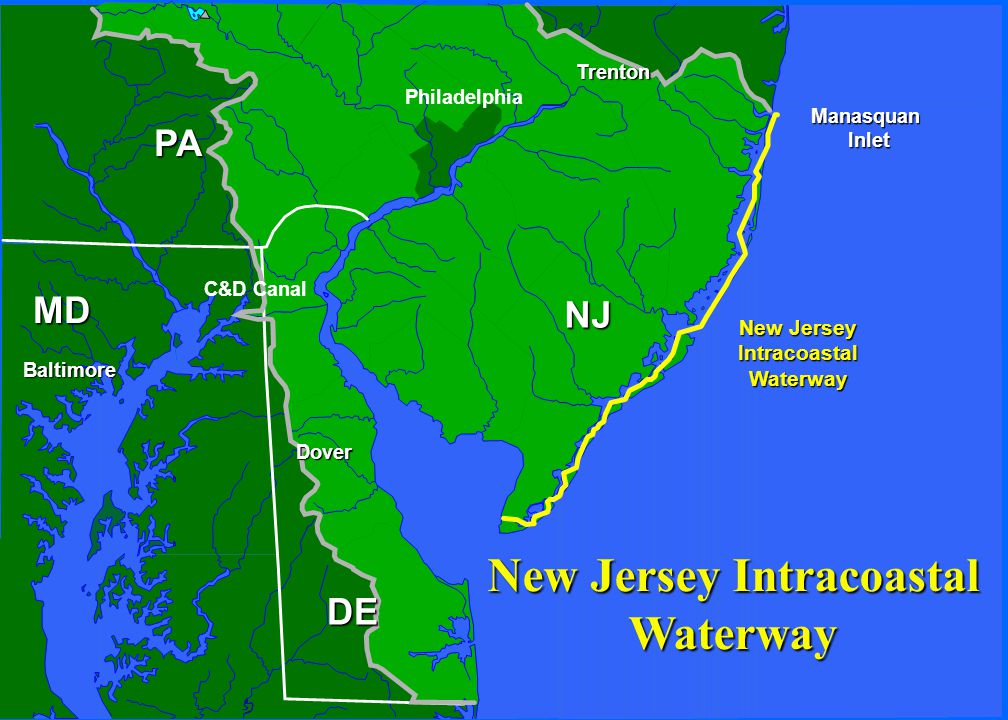 NJ PA Philadelphia Trenton Dover Baltimore New Jersey IntracoastalWaterway ManasquanInlet C&D Canal MD DE New Jersey Intracoastal Waterway