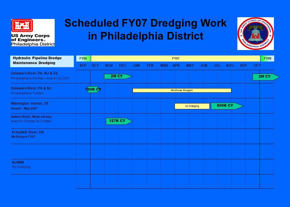 SEPOCTNOVDECJANFEBMARAPRMAYJUNJULAUGSEPOCT FY07FY06FY08 Mechanical Dredge Maintenance Dredging Approach to the C&D Canal Award – August 2007 1M CY No Dredging Scheduled FY07 Dredging Work in Philadelphia District 1M CY