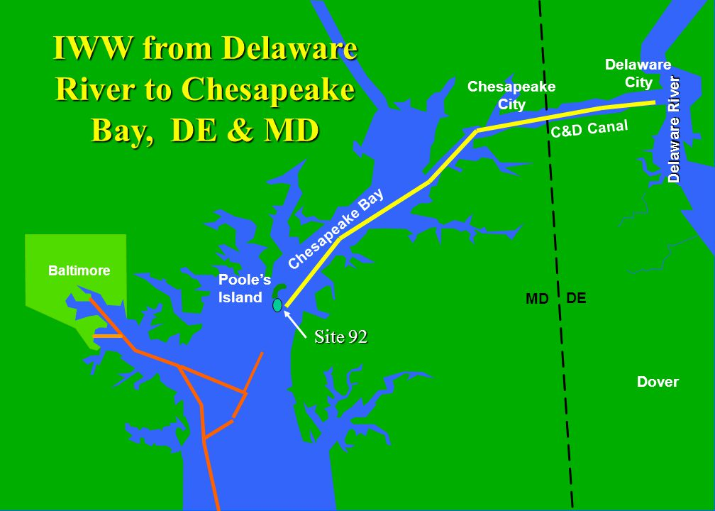 C&D Canal Delaware River Baltimore MD DE Dover Chesapeake Bay Poole's Island Delaware City Chesapeake City IWW from Delaware River to Chesapeake Bay, DE & MD Site 92