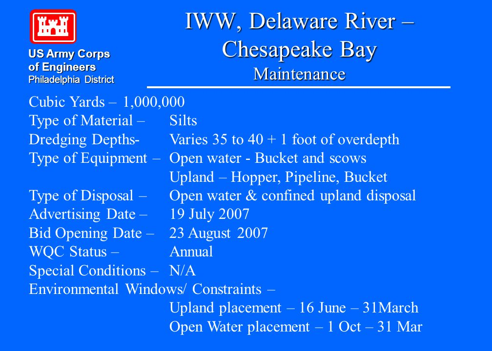 IWW, Delaware River – Chesapeake Bay Maintenance US Army Corps of Engineers Philadelphia District Cubic Yards – 1,000,000 Type of Material – Silts Dre