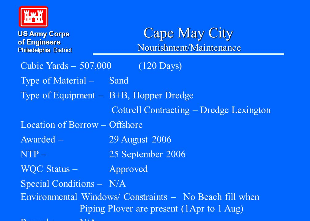 Cape May City Nourishment/Maintenance US Army Corps of Engineers Philadelphia District Cubic Yards – 507,000(120 Days) Type of Material – Sand Type of