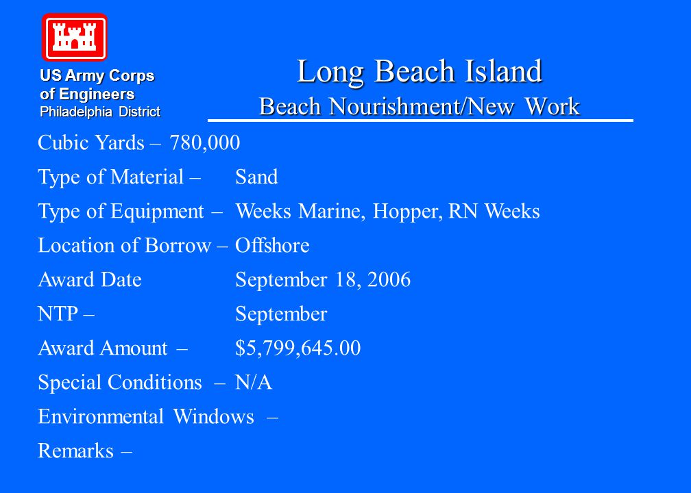 Long Beach Island Beach Nourishment/New Work US Army Corps of Engineers Philadelphia District Cubic Yards – 780,000 Type of Material – Sand Type of Equipment – Weeks Marine, Hopper, RN Weeks Location of Borrow –Offshore Award DateSeptember 18, 2006 NTP – September Award Amount – $5,799,645.00 Special Conditions – N/A Environmental Windows – Remarks –