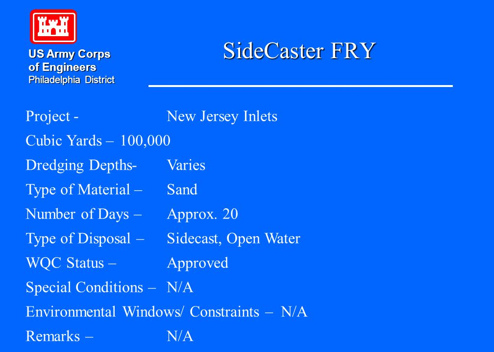 SideCaster FRY US Army Corps of Engineers Philadelphia District Project - New Jersey Inlets Cubic Yards – 100,000 Dredging Depths-Varies Type of Mater