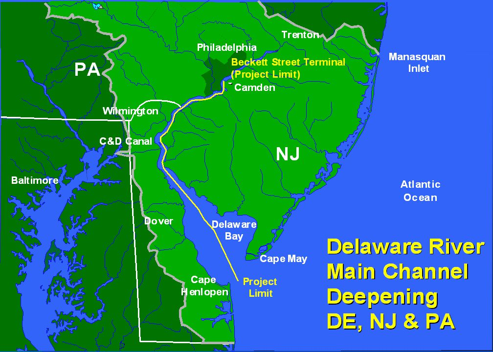 NJ PA Philadelphia Trenton Dover Baltimore ManasquanInlet C&D Canal MD DE Cold Springs Inlet New Jersey Inlets Barnegat Inlet