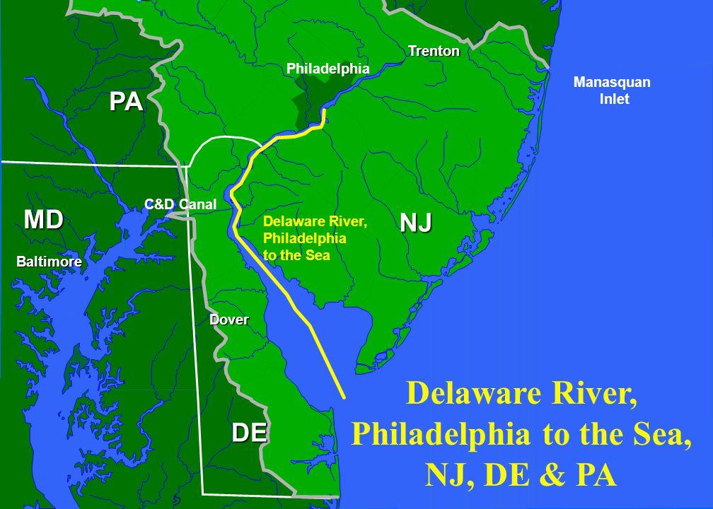 NJ PA Philadelphia Dover DelawareBay Baltimore MD DE ManasquanInlet Barnegat Inlet Absecon Inlet Coastal Navigation Projects Cape May Inlet