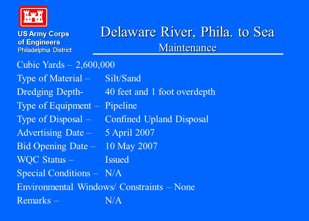 SideCaster FRY US Army Corps of Engineers Philadelphia District Project - New Jersey Inlets Cubic Yards – 100,000 Dredging Depths-Varies Type of Material – Sand Number of Days – Approx.