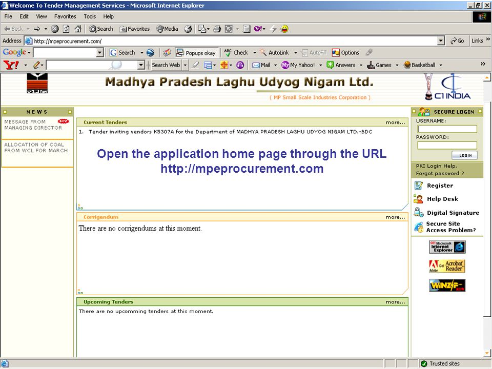 Open the application home page through the URL http://mpeprocurement.com
