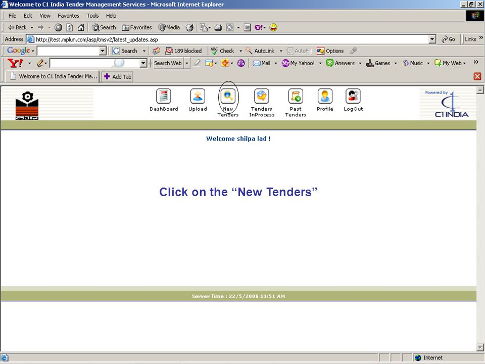 """Click on """"New Tenders"""" Click on the """"New Tenders"""""""