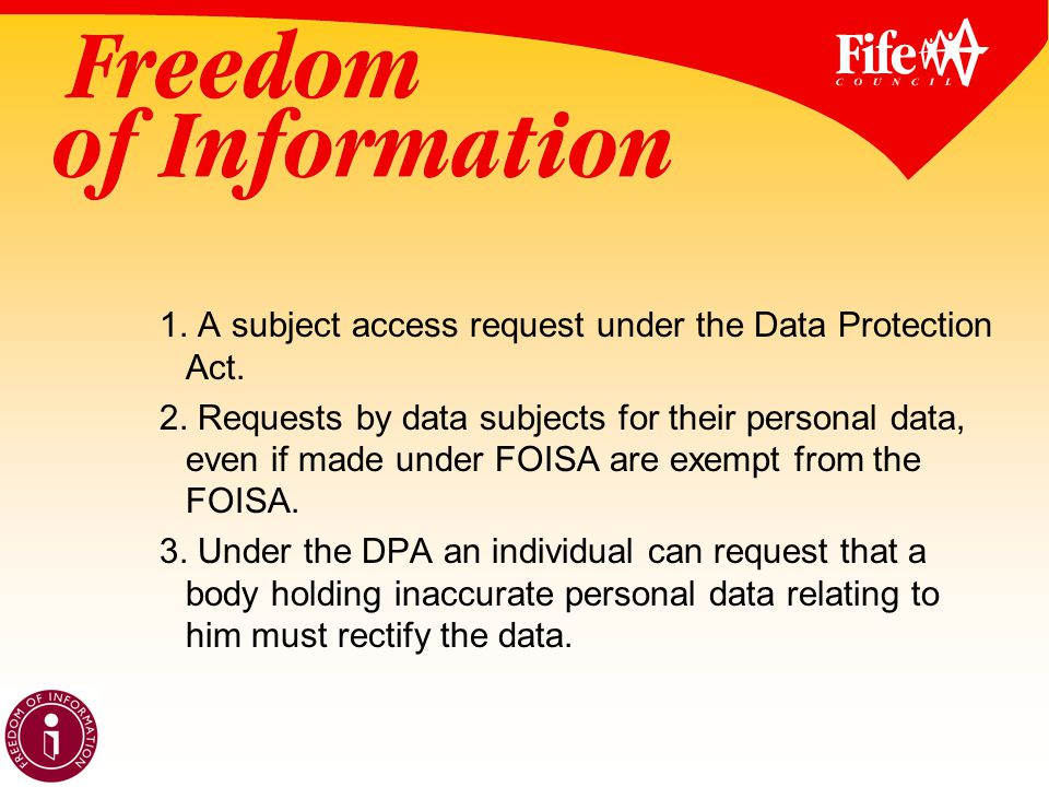 1. A subject access request under the Data Protection Act.
