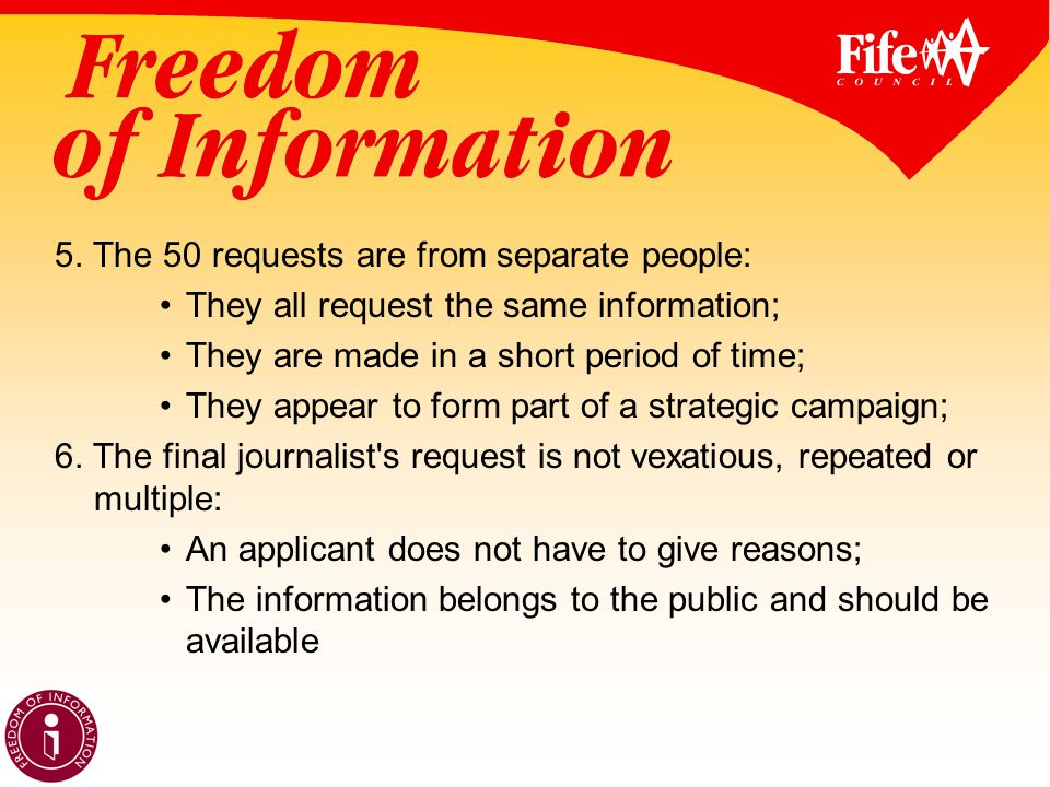5. The 50 requests are from separate people: They all request the same information; They are made in a short period of time; They appear to form part