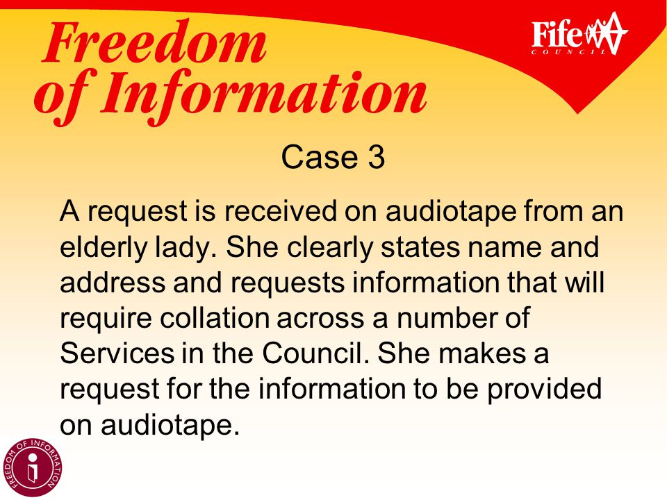 Case 3 A request is received on audiotape from an elderly lady.