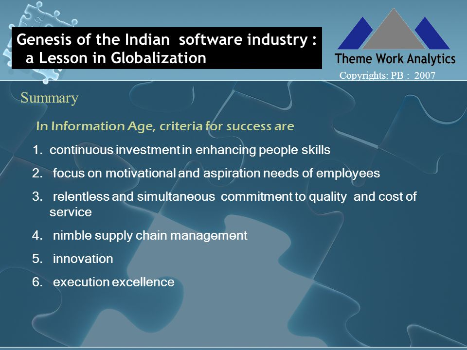 Genesis of the Indian software industry : a Lesson in Globalization Summary Copyrights: PB : 2007 In Information Age, criteria for success are 1.continuous investment in enhancing people skills 2.