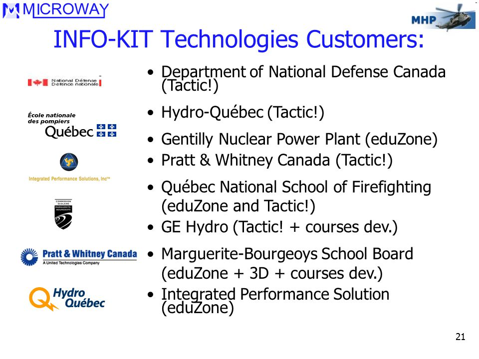 21 INFO-KIT Technologies Customers: Department of National Defense Canada (Tactic!) Hydro-Québec (Tactic!) Gentilly Nuclear Power Plant (eduZone) Pratt & Whitney Canada (Tactic!) Québec National School of Firefighting (eduZone and Tactic!) GE Hydro (Tactic.