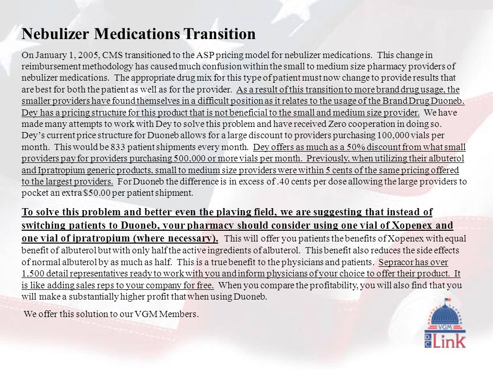 Nebulizer Medications Transition On January 1, 2005, CMS transitioned to the ASP pricing model for nebulizer medications.