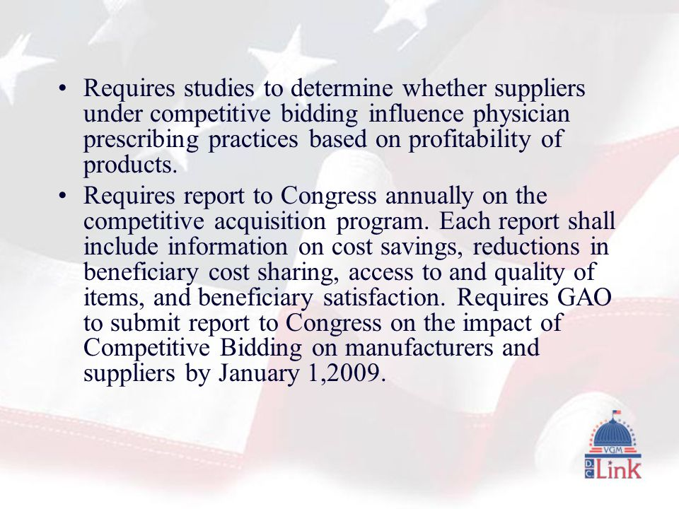 Requires studies to determine whether suppliers under competitive bidding influence physician prescribing practices based on profitability of products.