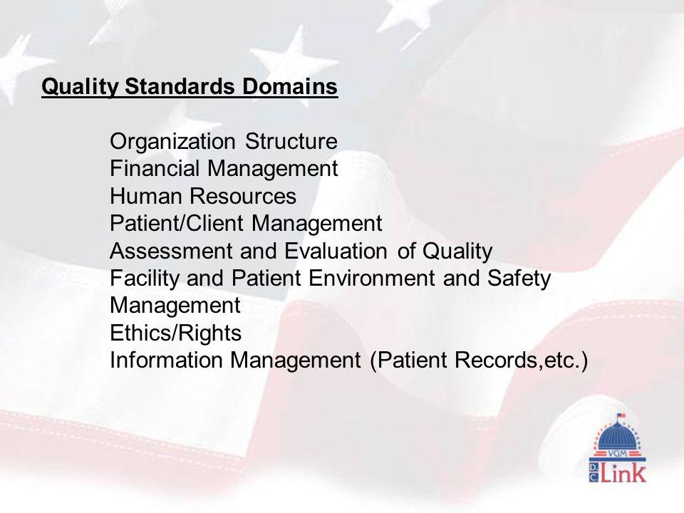 Quality Standards Domains Organization Structure Financial Management Human Resources Patient/Client Management Assessment and Evaluation of Quality Facility and Patient Environment and Safety Management Ethics/Rights Information Management (Patient Records,etc.)