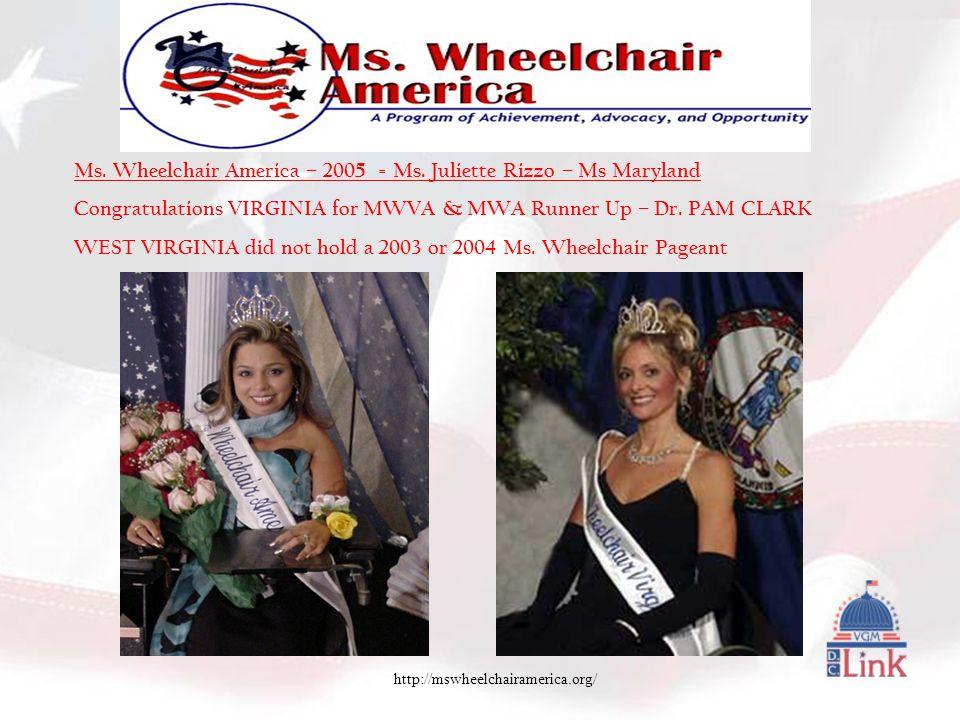 http://mswheelchairamerica.org/ Ms. Wheelchair America – 2005 = Ms.