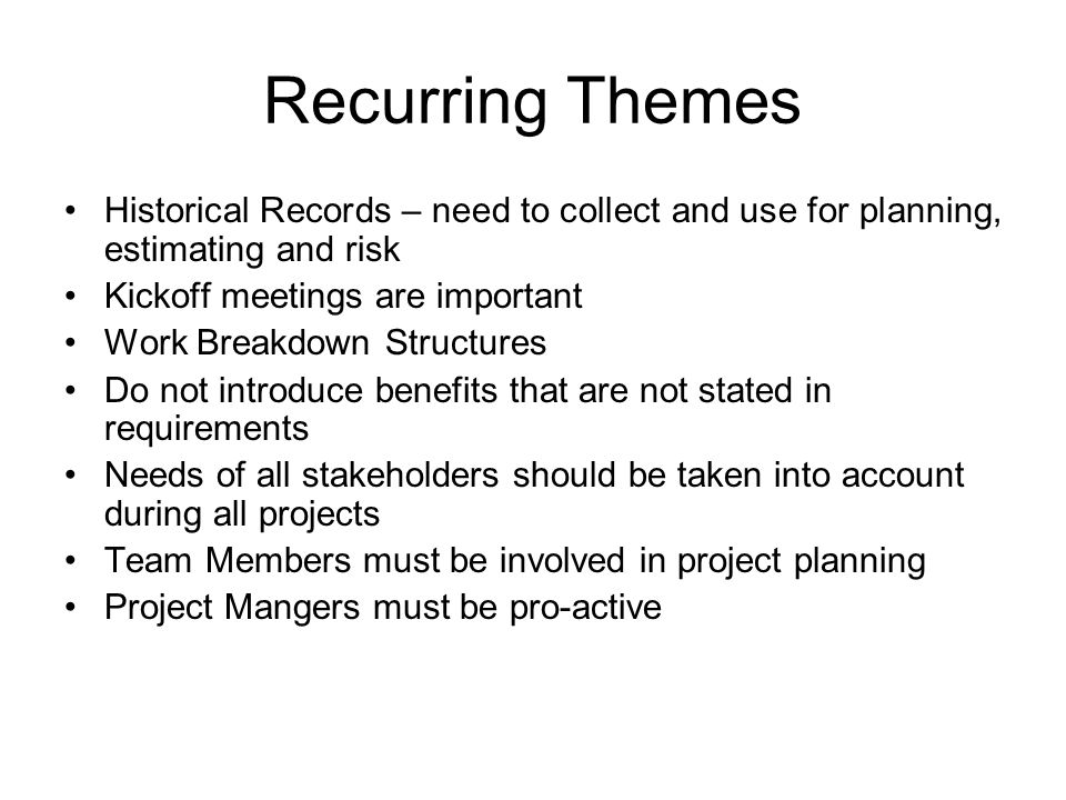Chapter 4 – Project Integration Management Project Integration Management –Ensures that the project processes are properly coordinated –Tradeoffs between competing objectives and alternatives in order to meet stakeholder approval Project Plan Development Project Plan Execution Overall Change Control –These processes may occur repeatedly over the project duration –Historical Records are needed to perform project management well, they are inputs to continuous improvement Files Lessons Learned Actual Costs Time Estimates WBS Benchmarks Risks