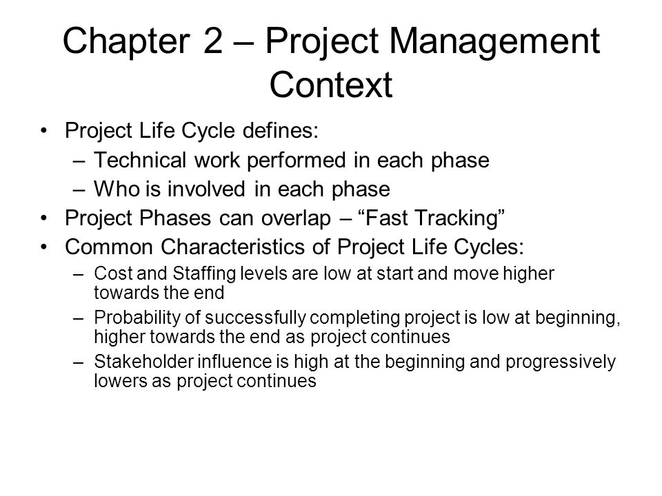 Chapter 5 – Project Scope Management Scope Planning – process of developing a written statement as basis for future decisions –Criteria to determine if the project or phase is successful Scope Planning Inputs: –Product description –Project Charter –Constraints –Assumptions