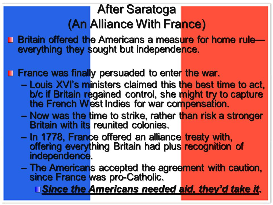 Britain offered the Americans a measure for home rule— everything they sought but independence.