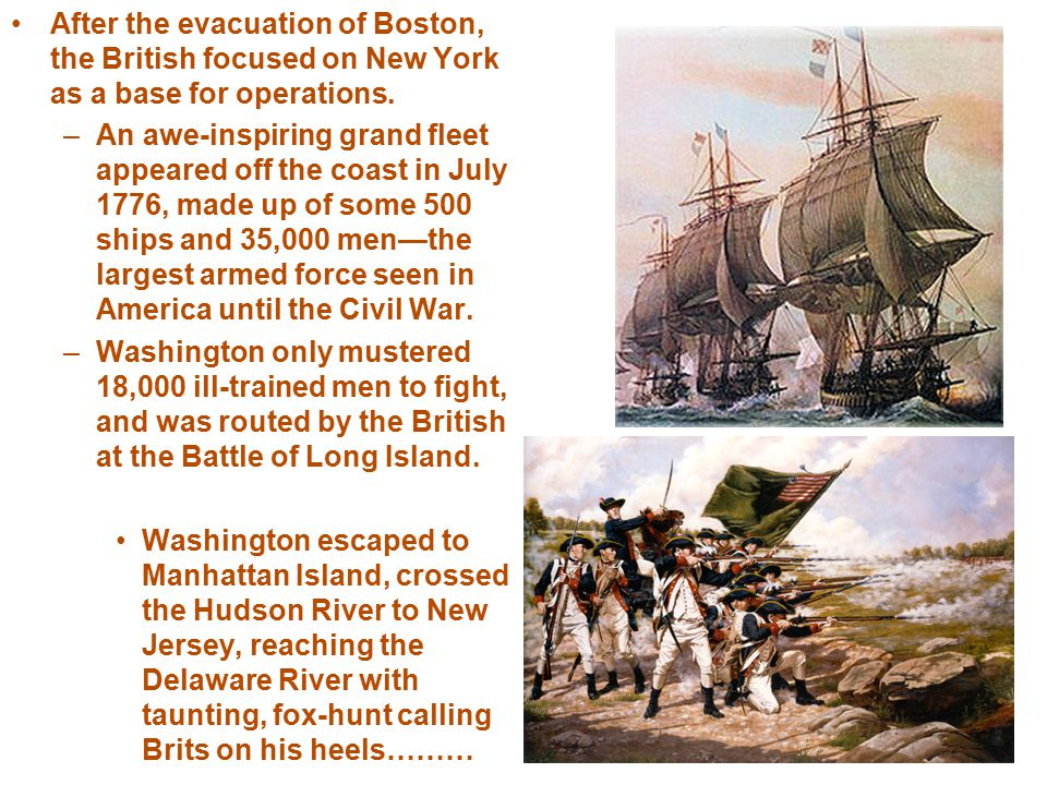 –After making it across the river just in time (leaving no boats for which the British to cross), Washington re-crossed the Delaware River at Trenton on Dec.