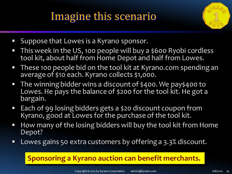 Copyright © 2012 by Kyrano Corporation. admin@kyrano.com6/8/2012 19 Imagine this scenario  Suppose that Lowes is a Kyrano sponsor.  This week in the